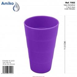 Vaso Sensitive Morado 7,5x11,5cm Amiko