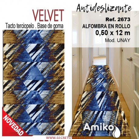 ALFOMBRA EN ROLLO VELVET 0,50X12M MOD. UNAY