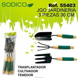 JGO. 3 PCS. JARDINERIA 30 CM. TRASPLANTADOR, CULTIVADOR, TENEDOR