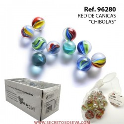 """RED CANICAS """"CHIBOLAS"""" 20uds /16 mm + 1ud. /25 mm"""