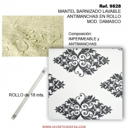 MANTEL BARNIZADO LAVABLE ANTIMANCHAS EN ROLLO MOD. DAMASCO