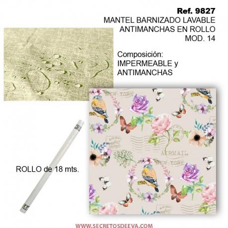 MANTEL BARNIZADO LAVABLE ANTIMANCHAS EN ROLLO MOD. 14