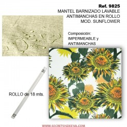 MANTEL BARNIZADO LAVABLE ANTIMANCHAS EN ROLLO MOD. SUNFLOWER