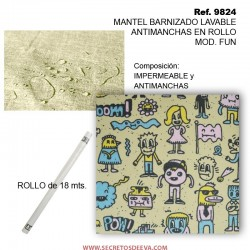 MANTEL BARNIZADO LAVABLE ANTIMANCHAS EN ROLLO MOD. FUN