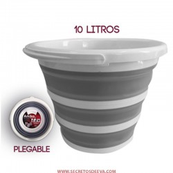 CUBO PLEGABLE 10L AMIKO COLOR GRIS, IDEAL PARA LIMPIEZA, PESCA, COCHE, PICNIC, VIAJE