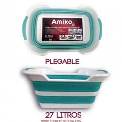 CUBO PLEGABLE MULTIUSOS 27L AMIKO COLOR AZUL, IDEAL PARA LIMPIEZA, PESCA, COCHE, PICNIC, VIAJE