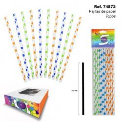 Set de 10 pajitas con Motitas de Colores de Papel Topos SINI