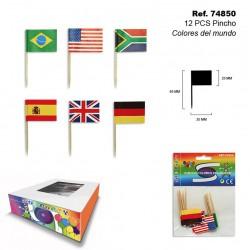 """Set de 12 Pinchos con Banderas Para Canapés y Bebidas """"Colores del Mundo"""" SINI"""